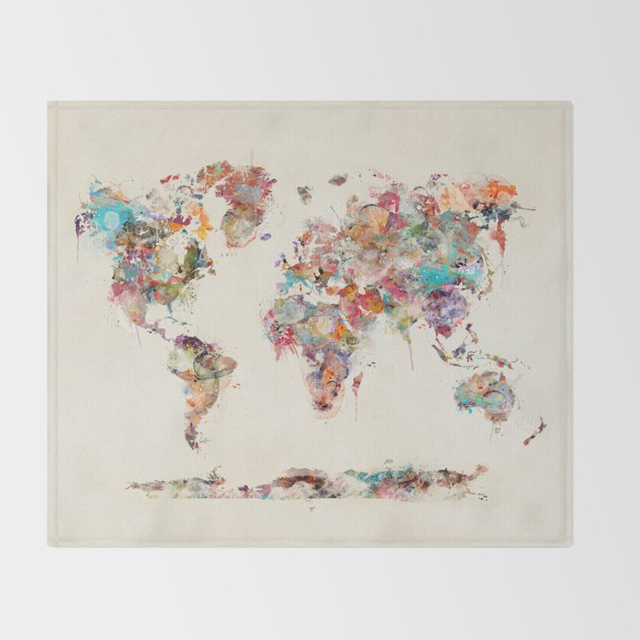 world map watercolor deux Throw Blanket