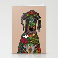 great dane Stationery Cards featuring Great Dane love beige by Sharon Turner