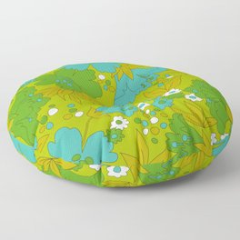 Green, Turquoise, and White Retro Flower Design Pattern Floor Pillow