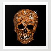 Orange Geometric Skull Art Print