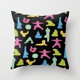 Rainbow Yoga Pattern Throw Pillow