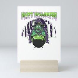 Scary Witch Happy Halloween Cauldron Potion Mini Art Print