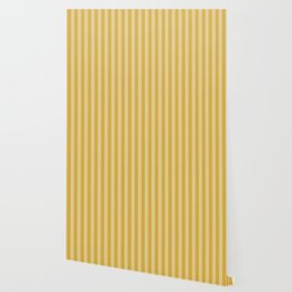 Large Two Tone Spicy Mustard Yellow Cabana Tent Stripe Wallpaper