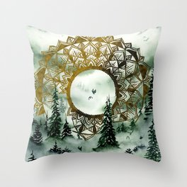 Moody Green Watercolor Forest Throw Pillow