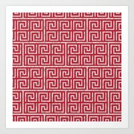 Oriental Symbol (Red & Silver) Art Print