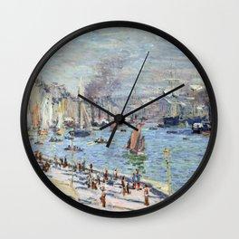 1874-Claude Monet-Port of Le Havre-60 x 102 Wall Clock