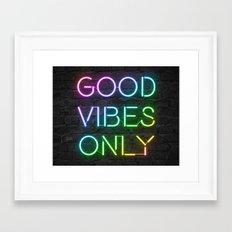 Neon Good Vibes - Rainbow Framed Art Print