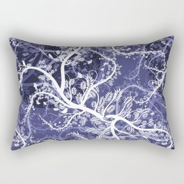 Abstract violet white hand painted birds leaves floral pattern Rectangular Pillow