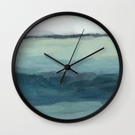 Seafoam Green Mint Navy Blue Abstract Ocean Art Painting Wall Clock