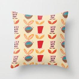 Mid- Century Modern Beige Flowers Pattern Throw Pillow