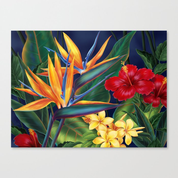 Tropical Paradise Hawaiian Floral Illustration Leinwanddruck