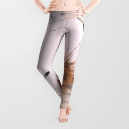 Delicate Brown Feather Seamless Pattern On Pink Leggings