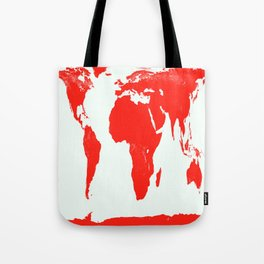 World Map red Tote Bag