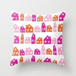 Little Village Orange Throw Pillow
