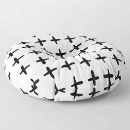 Black and white plus sign Floor Pillow