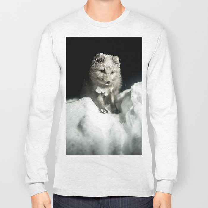 Baby wolf in the snow #animal #photography Long Sleeve T-shirt