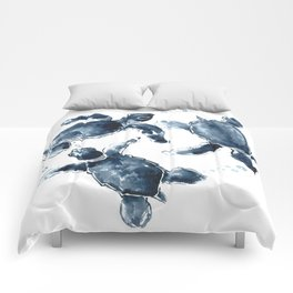 Turtle Swimming Sea Turtles indigo blue turtle art Comforters