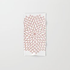 Mandala Flower Rose Gold on White Hand & Bath Towel