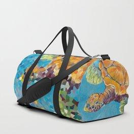 Water turtle in the ocean. pastel. Duffle Bag