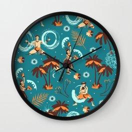 Hawaiian fire dancers Wall Clock