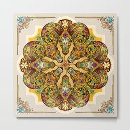 Mandala Sacred Rams - Bright Version Metal Print