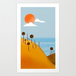Paesaggio, illustrazione digitale, digital art Art Print