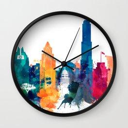 Austin Watercolor Skyline Wall Clock