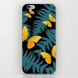 Fern Fronds With Yellow Butterflies & Black Color Art iPhone Skin