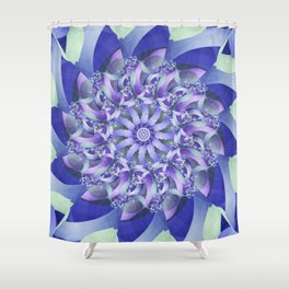 Ever Expanding Mandala in Blue and Purple Shower Curtain