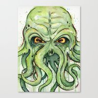 cthulhu Canvas Prints featuring Cthulhu by Olechka