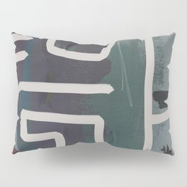 Muted Blue and Green Painting with Abstract White Line Pillow Sham