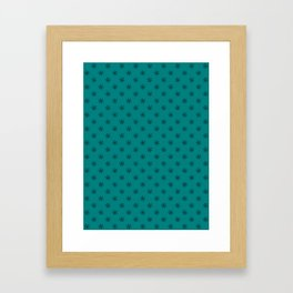 Black on Teal Green Snowflakes Framed Art Print