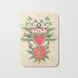 Vintage Tattoo Design with an Anchor and Heart Bath Mat