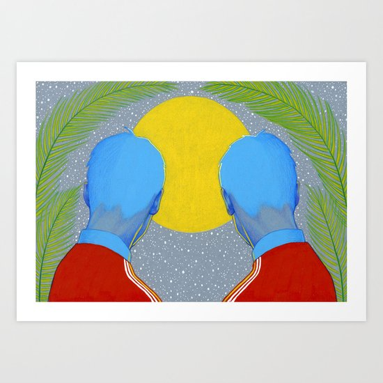 Track jackets in the night Art Print
