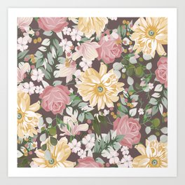 Abstract Watercolor Pink Yellow Mint Brown Floral Art Print