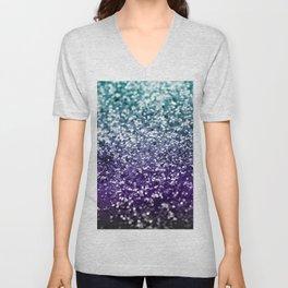 Aqua Purple Ombre Glitter #2 #decor #art #society6 Unisex V-Neck