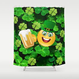 St. Patricks Day Emoticon Shower Curtain