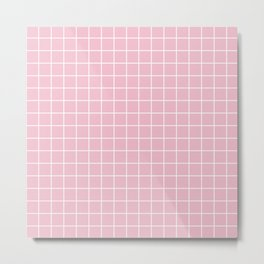Orchid pink - pink color - White Lines Grid Pattern Metal Print