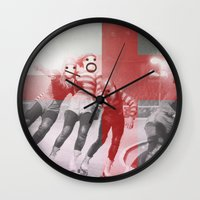 roller derby Wall Clocks featuring Punchtuation Roller Derby by Vin Zzep