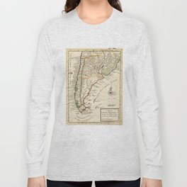Vintage Map of Chile and Argentina (1732) Long Sleeve T-shirt