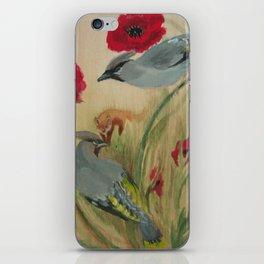 Waxwings Fox Poppy iPhone Skin
