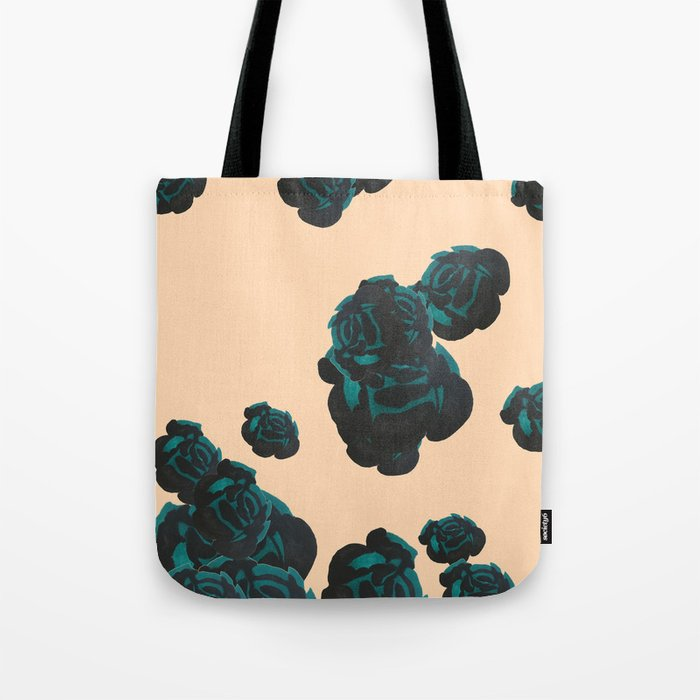 Green and Black Roses on Peach, Greenery Tote Bag