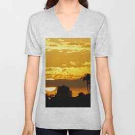 Telephoto Sunset in the Back Bay Unisex V-Neck