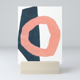 Mid Century Modern Abstract Minimalist Shapes Teal Blue Salmon Pink Mini Art Print