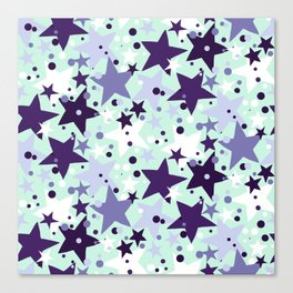 Fun pattern with stars and twinkle lights Canvas Print