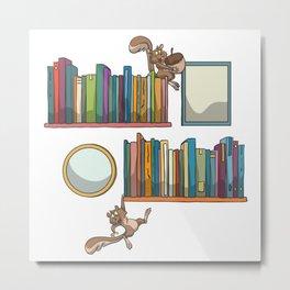 Bookshelf books squirrel Metal Print