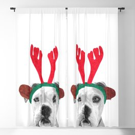 Black and White Boxer Christmas Blackout Curtain
