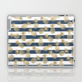 Modern nautical navy blue stripes faux gold pineapple Laptop & iPad Skin
