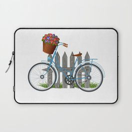 Vintage bicycle with basket full of violets flowers Laptop Sleeve