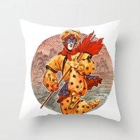 kit king Throw Pillows featuring Monkey King by Kit Seaton